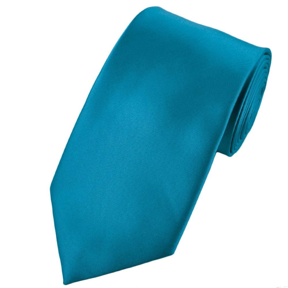 plain mediterranean blue satin tie