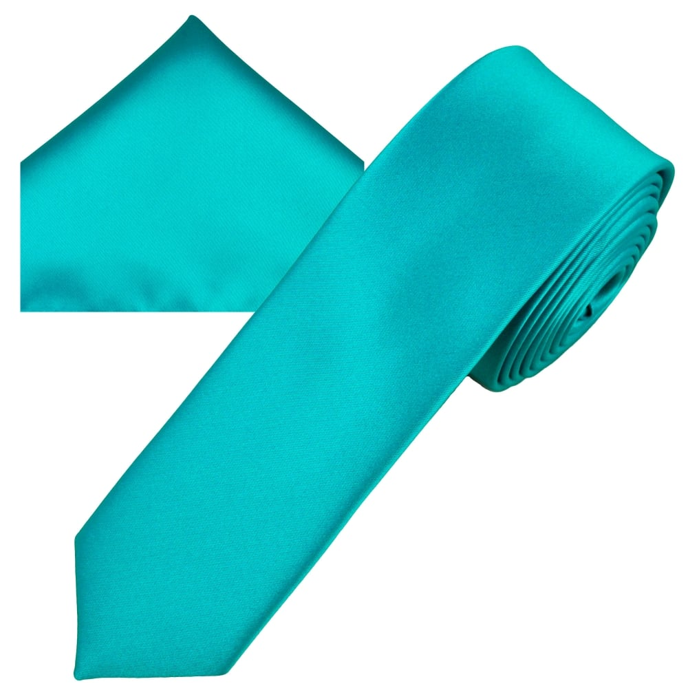 98bffb7e0e51 Plain Medium Turquoise Men's Skinny Tie & Pocket Square Handkerchief Set  from Ties Planet UK