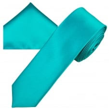 Plain Medium Turquoise Men's Skinny Tie & Pocket Square Handkerchief Set