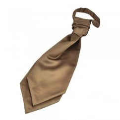 Plain Mid-Brown Boys Scrunchie Wedding Cravat