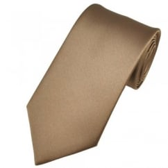 Plain Mid Brown Satin Tie