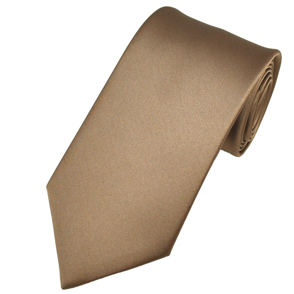 plain mid brown satin tie from ties planet uk