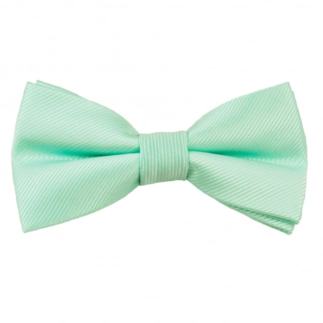 Plain Mint Green Ribbed Men's Bow Tie