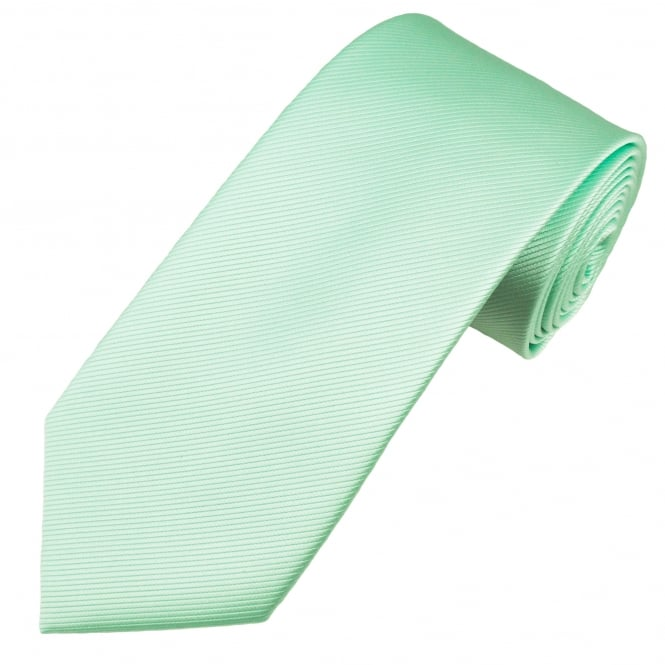 Plain Mint Green Ribbed Men's Tie