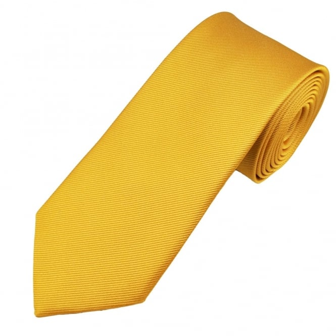 Plain Mustard Gold Narrow Silk Tie