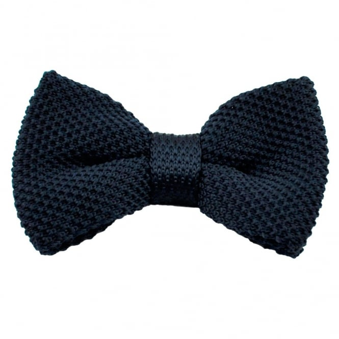 Plain Navy Blue Knitted Bow Tie