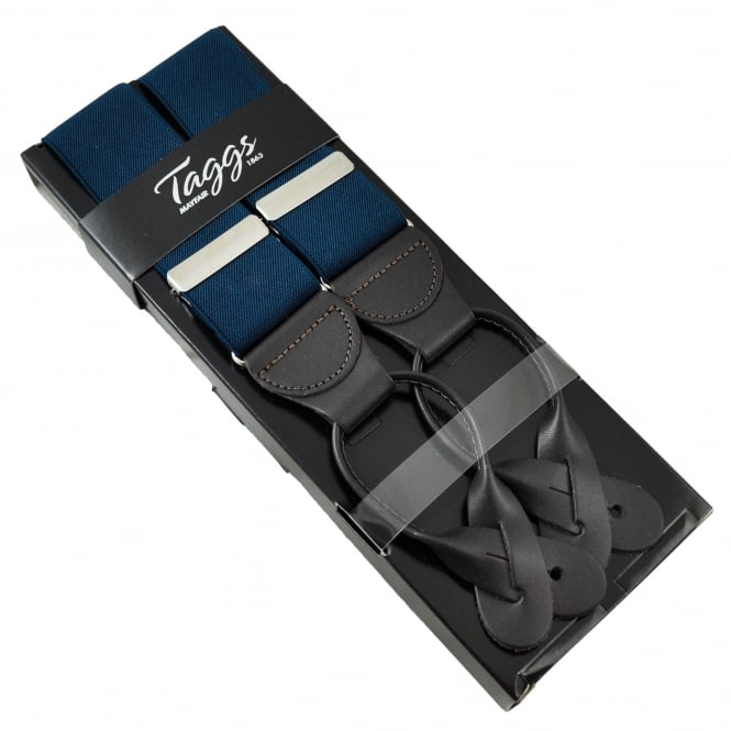 Plain Navy Blue Luxury Trouser Braces with Dark Brown Leather Ends