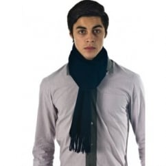 Plain Navy Blue Men's 100% Wool Scarf