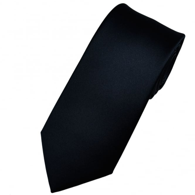 Plain Navy Blue Men's Satin Tie