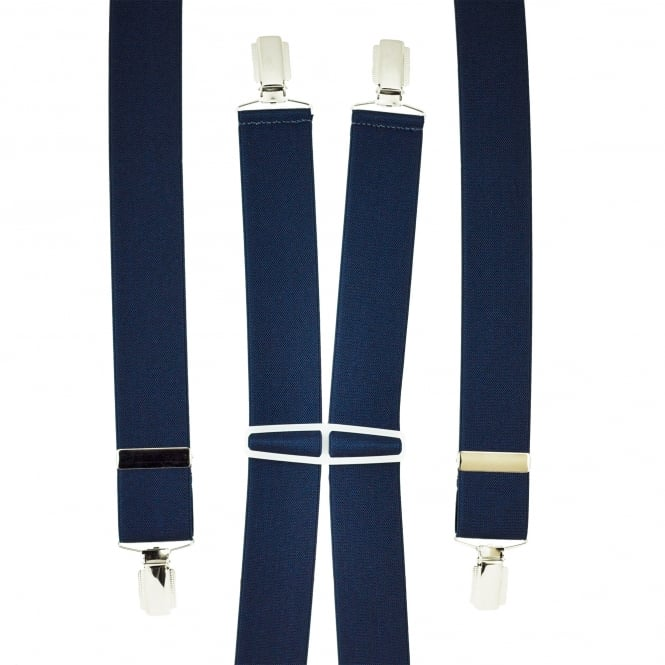 Plain Navy Blue Men's Trouser Braces