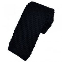 Plain Navy Blue Narrow Knitted Tie