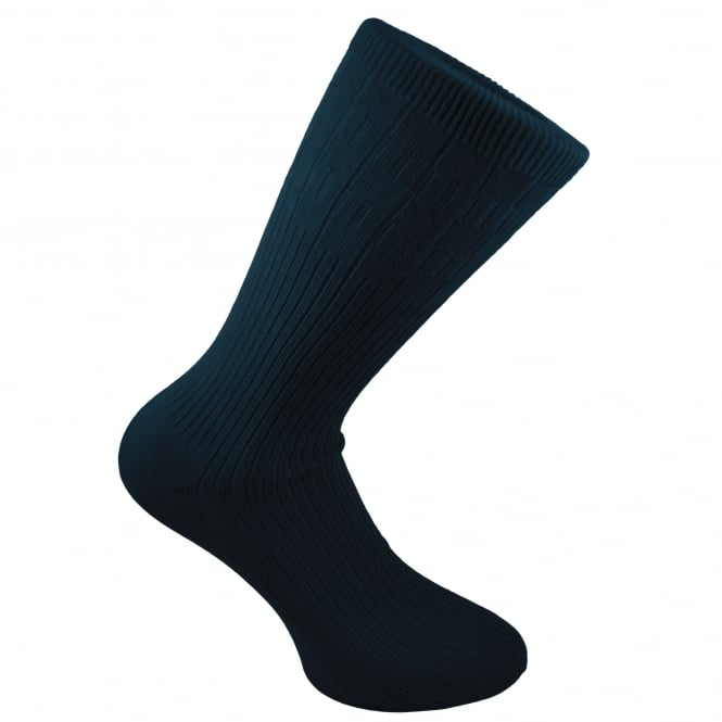 Plain Navy Blue Ribbed Men's Socks by Peter England