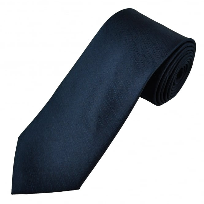 Plain Navy Blue Self Patterned Men's Tie