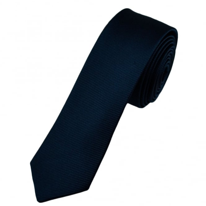 Plain Navy Blue Silk Skinny Tie