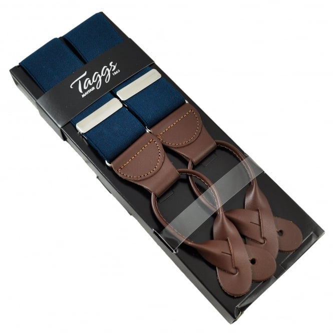 Plain Navy Blue Trouser Braces with Brown Leather Ends