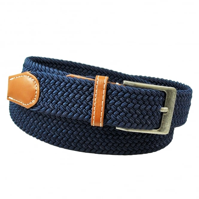 Plain Navy Blue Woven Expandaband Belt