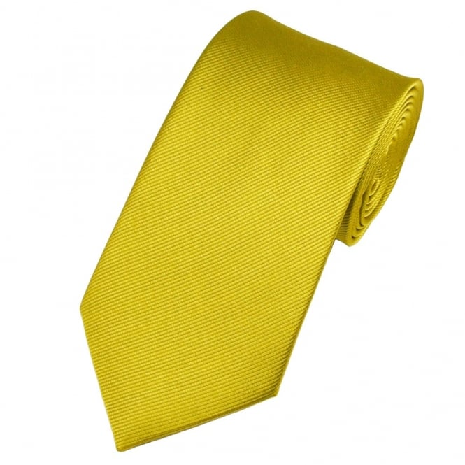 Plain Olive Gold Silk Tie