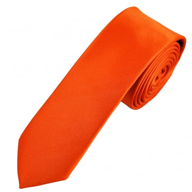 Plain Orange Boys Skinny Tie