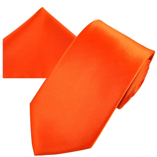 Plain Orange Men's Satin Tie & Pocket Square Handkerchief Set