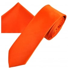 Plain Orange Men's Skinny Tie & Pocket Square Handkerchief Set