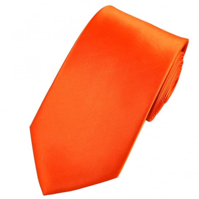 Plain Orange Satin Tie