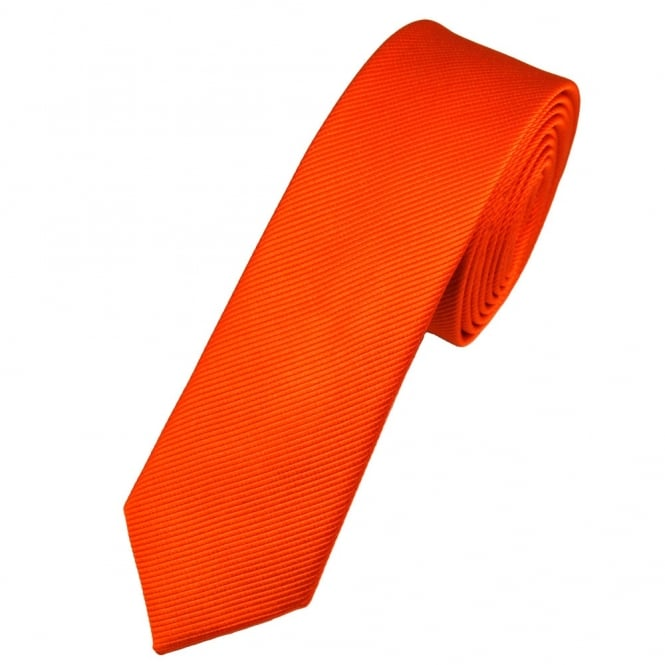 Plain Orange Silk Skinny Tie