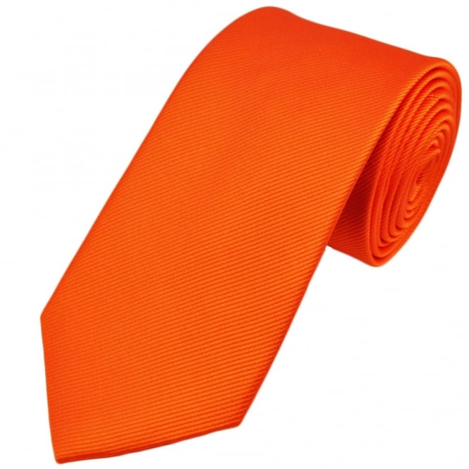 Plain Orange Silk Tie