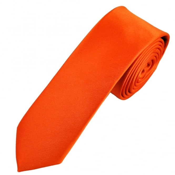 Plain Orange Skinny Tie