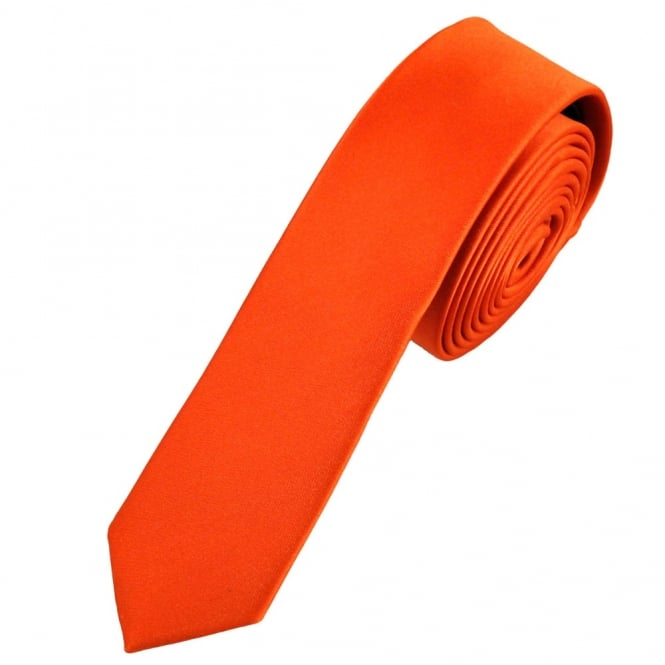Plain Orange Super Skinny Tie