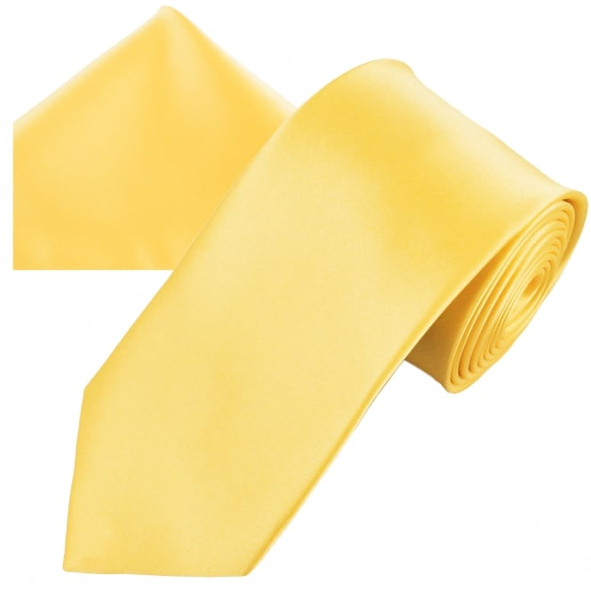 Plain Pale Lemon Yellow Men's Satin Tie & Pocket Square Handkerchief Set