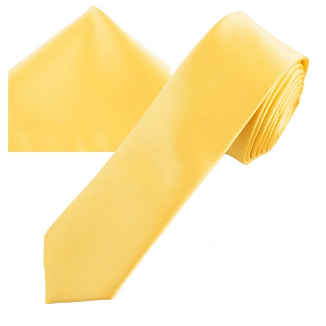 Plain Pale Lemon Yellow Men's Skinny Tie & Pocket Square Handkerchief Set