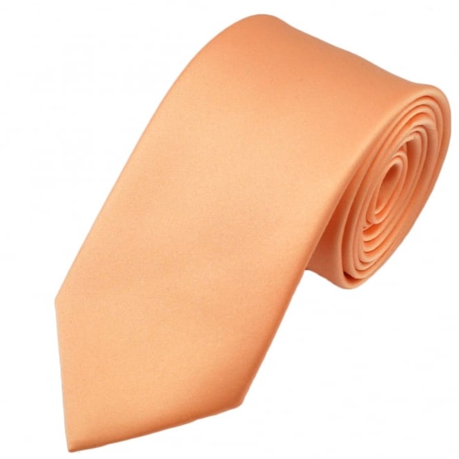 Plain Peach Satin Tie