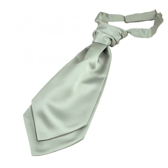 Plain Pearl Silver Boys Scrunchie Wedding Cravat