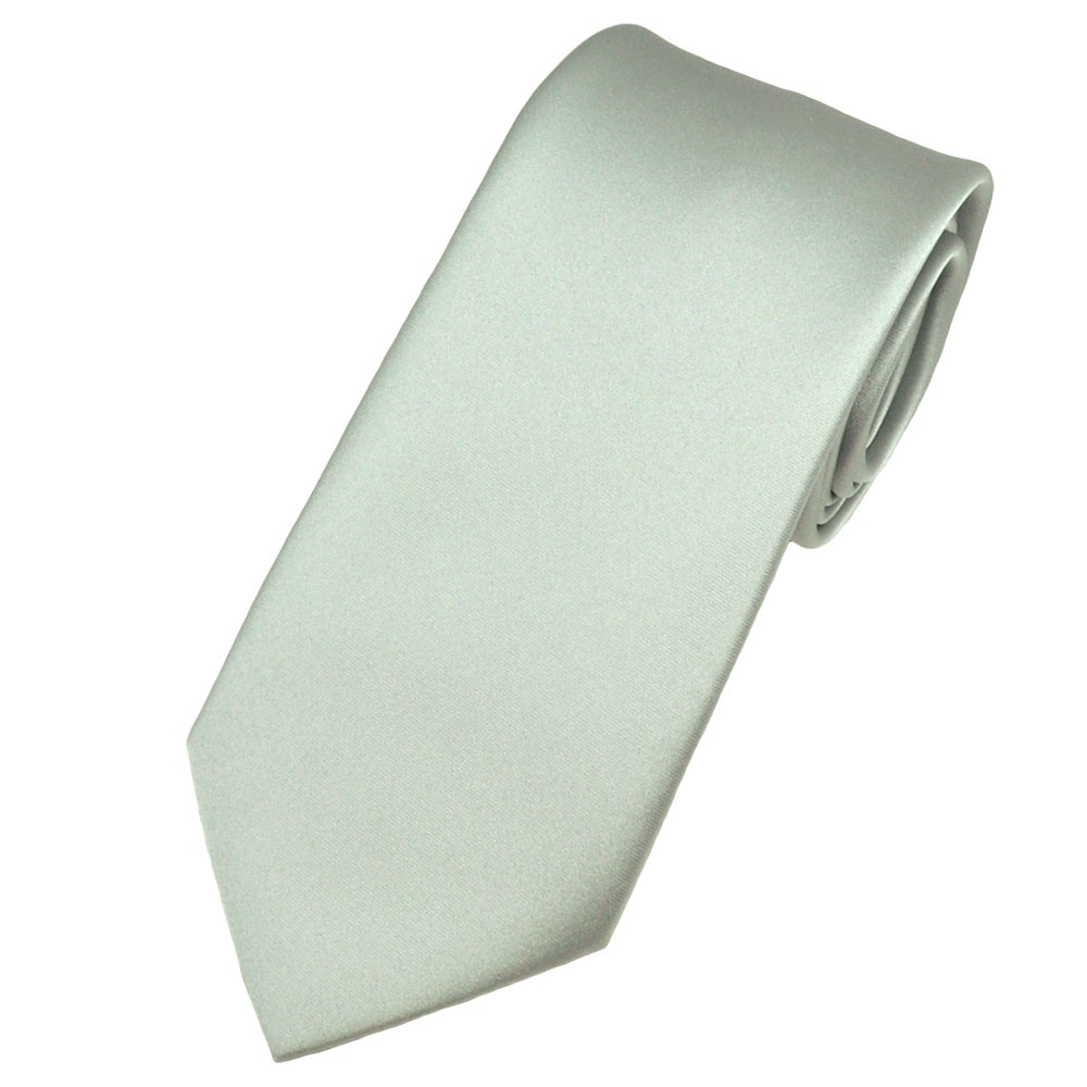 plain pearl silver satin tie from ties planet uk