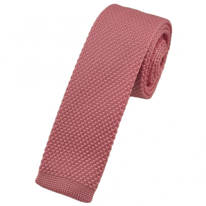 Plain Pink Knitted Skinny Tie