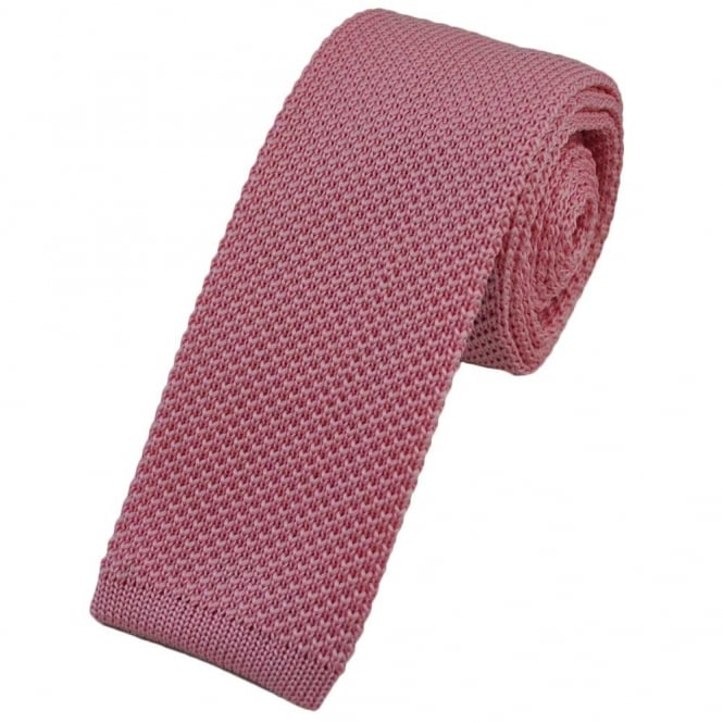 Plain Pink Narrow Knitted Tie