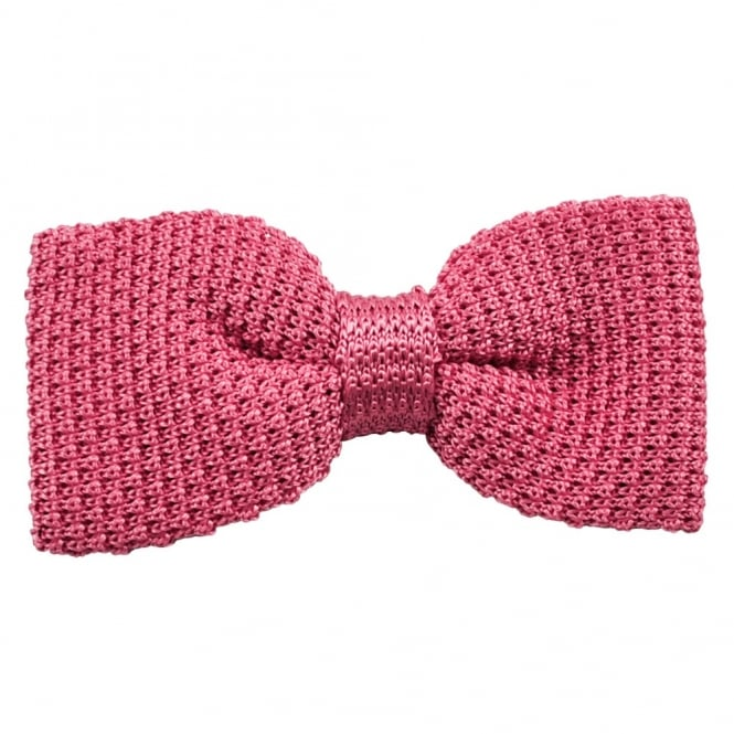 Plain Pink Silk Knitted Bow Tie