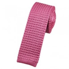 Plain Pink Silk Knitted Tie