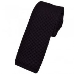 Plain Purple Knitted Skinny Tie by Van Buck