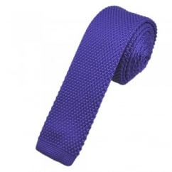 Plain Purple Knitted Skinny Tie