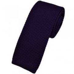 Plain Purple Narrow Knitted Tie