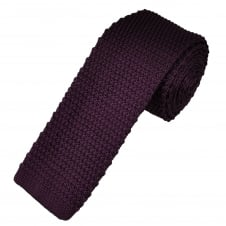 Plain Purple Narrow Men's Knitted Tie