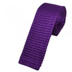 Plain Purple Silk Knitted Tie