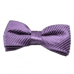 Plain Purple Silk Pleated Bow Tie