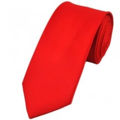 Plain Red 7cm Narrow Tie