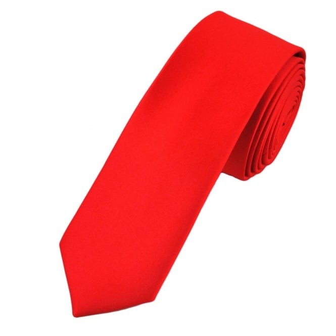 Plain Red Boys Skinny Tie