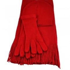 Plain Red Hat, Scarf & Gloves Set