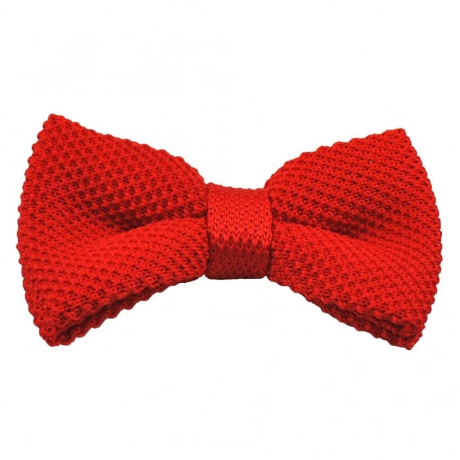 Plain Red Knitted Bow Tie