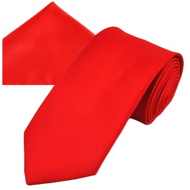 Plain Red Men's Satin Tie & Pocket Square Handkerchief Set