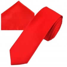 Plain Red Men's Skinny Tie & Pocket Square Handkerchief Set